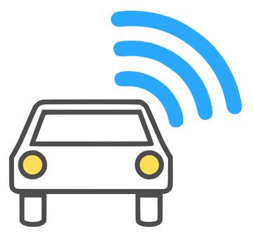 Symboldarstellung eines Autos mit Funkstrahlen-Symbol