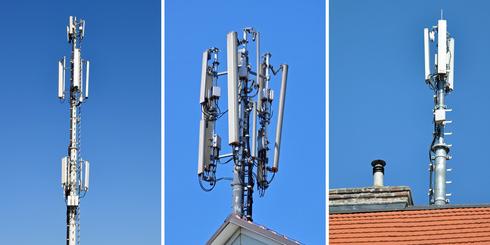 Drei Bilder von Mobilfunksendern