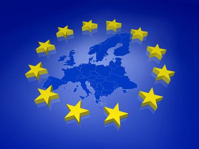Symboldarstellung einer Europakarte mit gelben Europasternen