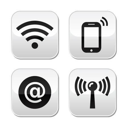 Piktogramme der Dienste WLAN, Smartphone, E-Mail und Mobilfunk