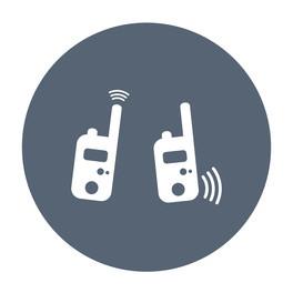 Symboldarstellung von zwei über Funk verbundenen Funkgeräten