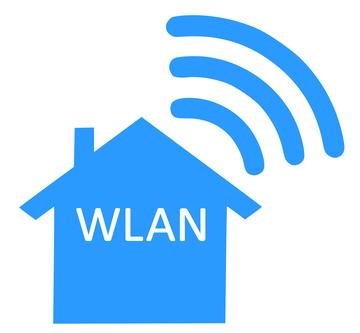 Haus mit Schrift WLAN und Strahlensymbol