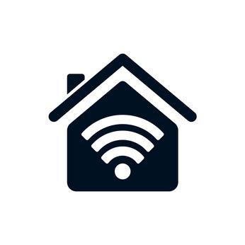 schwarzes Haus mit weißem WLAN-Symbol