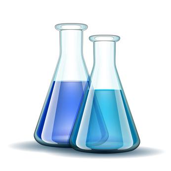 Laborflaschen mit Reagenzflüssigkeit