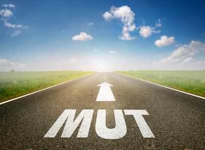 """Straße mit Aufschrift """"MUT"""" auf der Fahrbahn"""