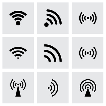 Neun Symbole für Funkstrahlung schwarz auf grau