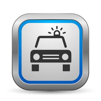 Symbol eines Polizeiautos in einem blauen Rahmen