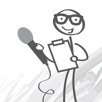 Strichzeichnung eines Reporters mit Mikrofon