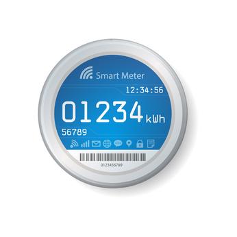 """Symboldarstellung eines """"intelligenten"""" Stromzählers, eines sogenannten """"smart meters"""""""
