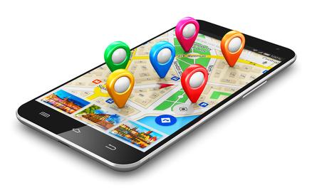 Smartphone mit GPS-Navigationsmarken