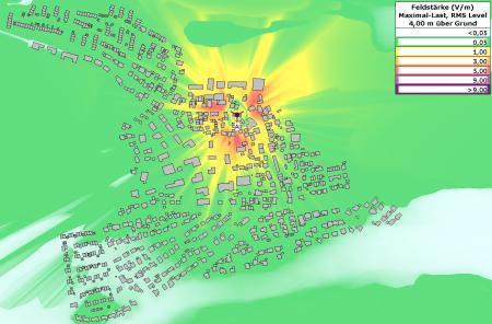 Immissionskarte zeigt hohe Belastung durch einen Standort im Ort