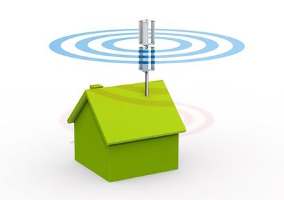 Symboldarstellung eines Hauses mit Mobilfunksender auf dem Dach