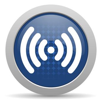 WLAN-Symbol weiß auf blauem Grund
