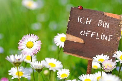 """Holzschild mit Schrift """"Ich bin offline"""" in einer Blumenwiese"""